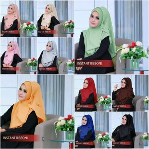 Jilbab instant ribboni diamond georgette