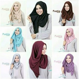 Jilbab instan fushia buble pop