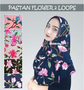 Jilbab pashmina instant flower 2loops