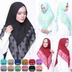 jilbab instan / Khimar Ruby Crepe wit pad cantik