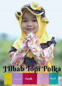 Jilbab instan / Jilbab Anak Topi Polka Kombi Polos