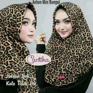 Jilbab Instan Antem Mini Rumpol Leopard / Jilbab Instan Motif Macan wolfis