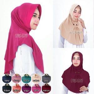 Jilbab Instan / Hijab Bergo Syifa Kancing pad antem jersey