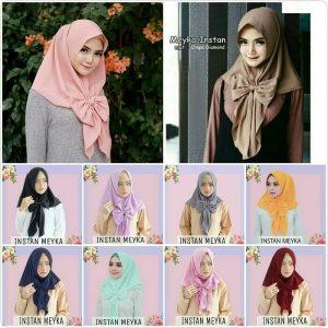 Jilbab instan / Hijab Instan Meyka non pad Diamond crepe