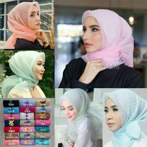 Jilbab Segiempat Organza Dot
