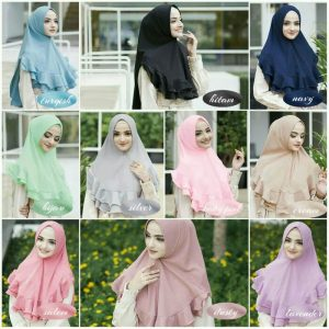 Jilbab instan / Khimar Mini Lyra softpad antem bubble pop