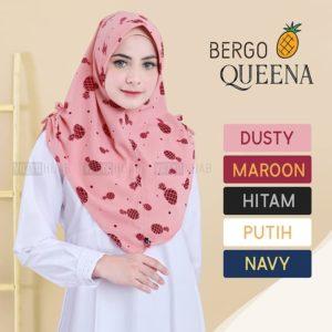 Jilbab Instan / kerudung / Hijab Bergo Queena mini pad bubbleprint