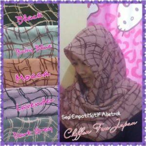 Jilbab segi empat chiffon abstrak