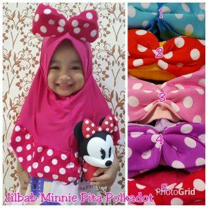 Jilbab anak Minnie pita polkadot