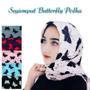 Jilbab segiempat butterfly polkadot