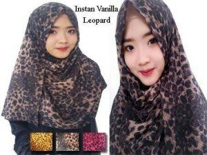 Pashmina Instan Vanilla Leopard bubble pop
