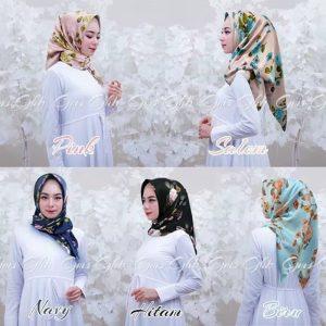 Jilbab Segiempat Maxmara Motif Bunga 1