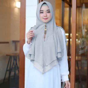 Jilbab Instan / Hijab Khimar Button softpad double ceruti