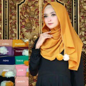 Jilbab instan / Hijab Instan Pompom nonpad bubble crepe