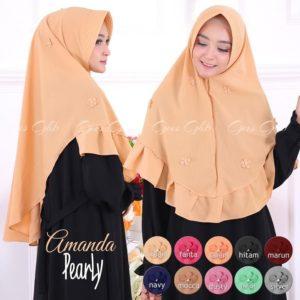 Jilbab instan / Hijab Amanda Pearly pad antem bubble pop