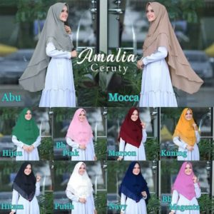 Jilbab instan / Hijab Khimar Amalia with pad doble layer ceruti