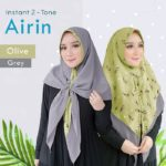 Jilbab instan 2 warna / kerudung / khimar Instant 2-Tone Airin bubbleprint